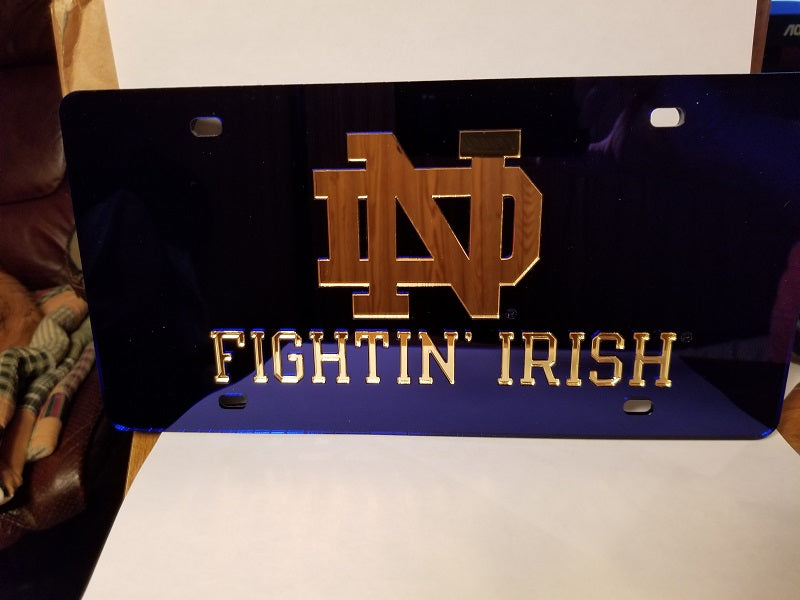 NCAA Notre Dame Fighting Irish Laser License Plate Tag - Navy