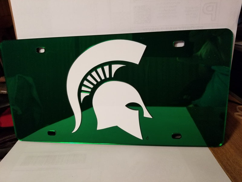 NCAA Michigan State Spartans Laser License Plate Tag - Green