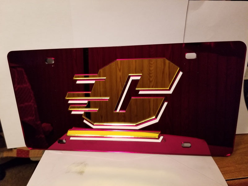 NCAA Central Michigan Chippewas Laser License Plate Tag - Maroon