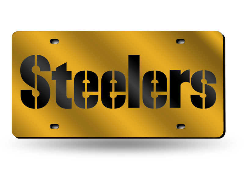 NFL Pittsburgh Steelers Laser License Plate Tag - Yellow