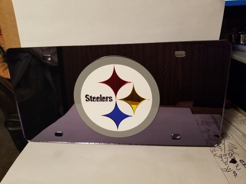 NFL Pittsburgh Steelers Laser License Plate Tag - Black