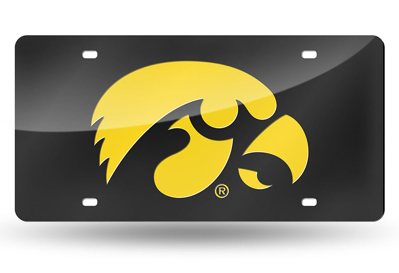 NCAA Iowa Hawkeyes Laser License Plate Tag - Black