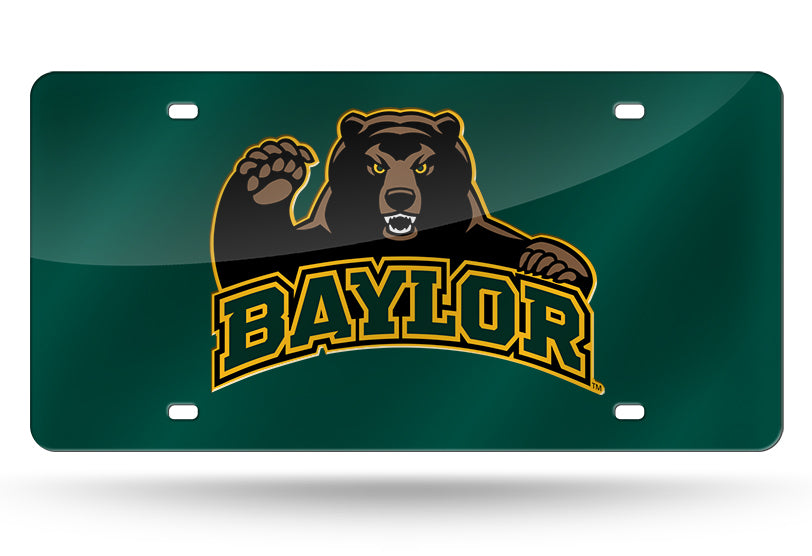 NCAA Baylor Bears Laser License Plate Tag - Green