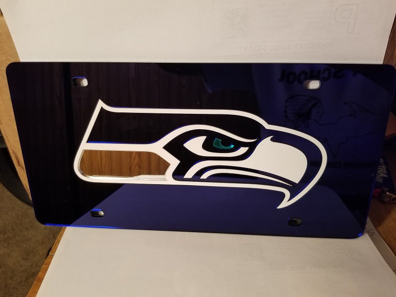 NFL Seattle Seahawks Laser License Plate Tag - Navy