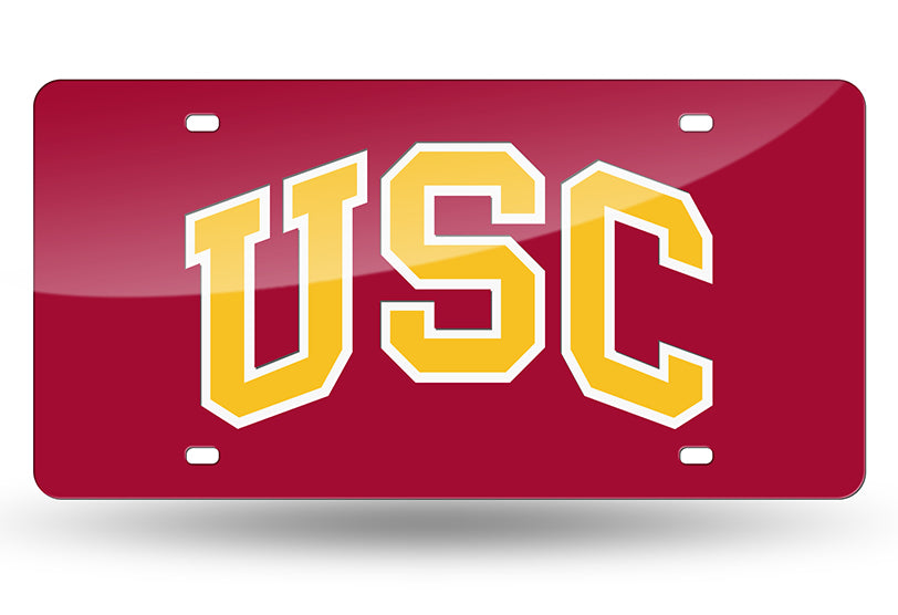 NCAA USC Trojans Laser License Plate Tag - Red