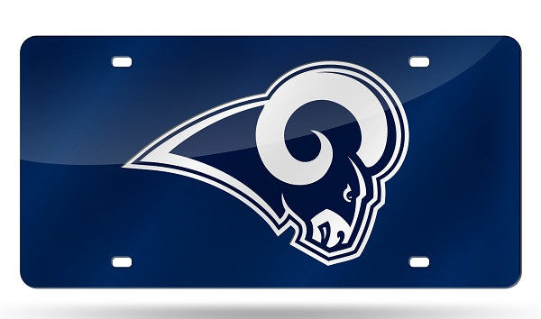 NFL Los Angeles Rams Laser License Plate Tag - Blue