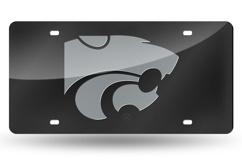 NCAA Kansas State Wildcats Laser License Plate Tag - Black