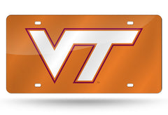 NCAA Virginia Tech Hokies Laser License Plate Tag - Orange