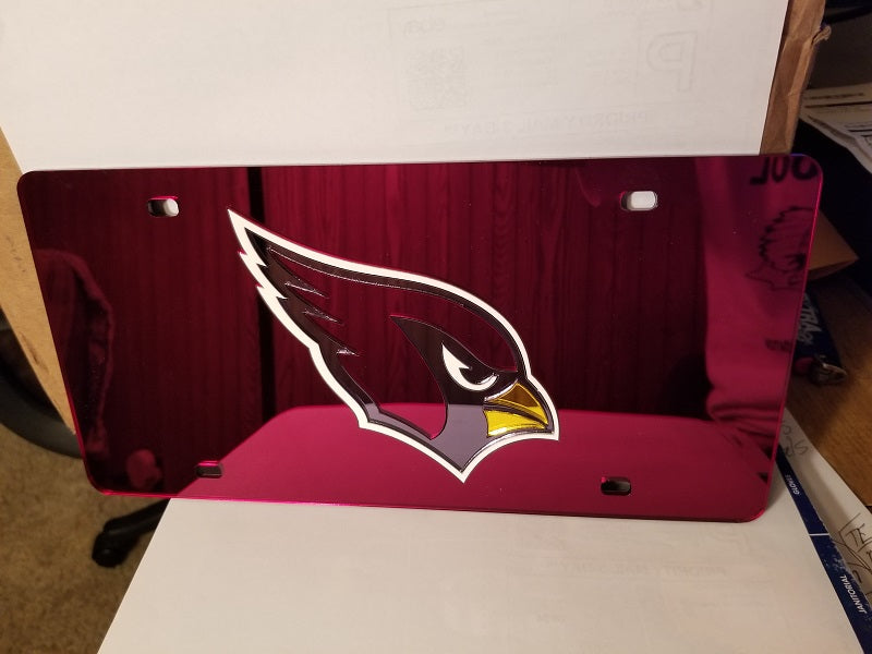 NFL Arizona Cardinals Laser License Plate Tag - Red