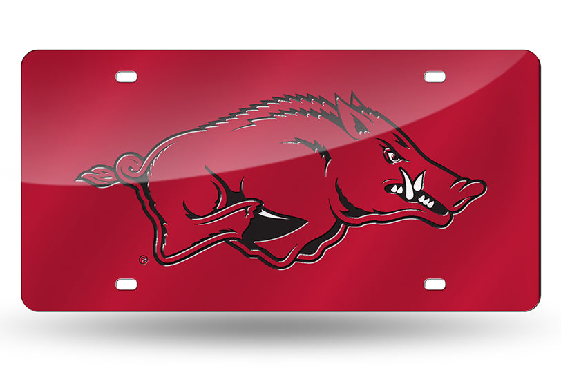 NCAA Arkansas Razorbacks Laser License Plate Tag - Red
