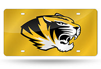 NCAA Missouri Tigers Laser License Plate Tag - Yellow