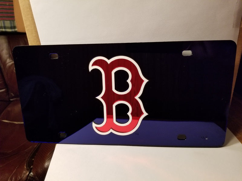 "MLB Boston Red Sox ""B"" Laser License Plate Tag - Blue"