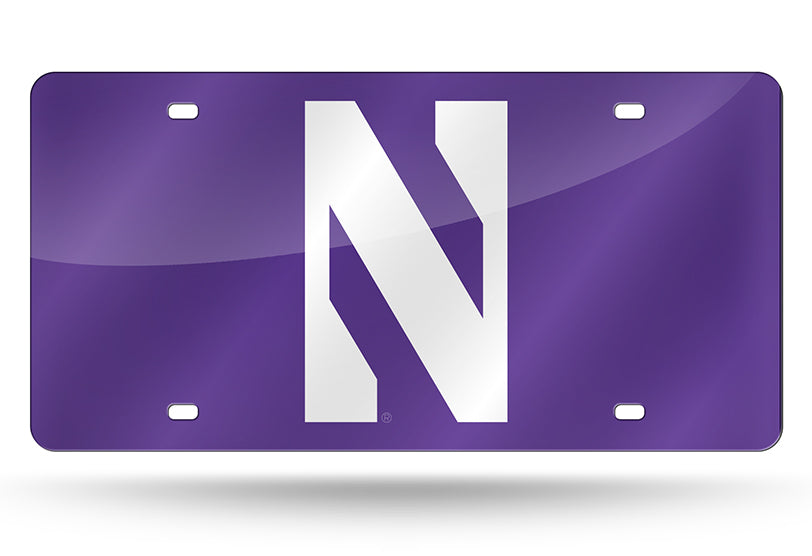 NCAA Northwestern Wildcats Laser License Plate Tag - Purple