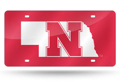 NCAA Nebraska Cornhuskers Laser License Plate Tag - Red