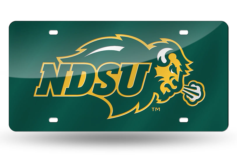 NCAA North Dakota State Bison Laser License Plate Tag - Green