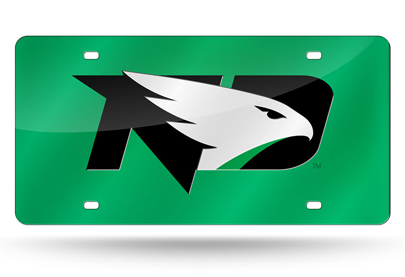 NCAA North Dakota Fighting Hawks Laser License Plate Tag - Green