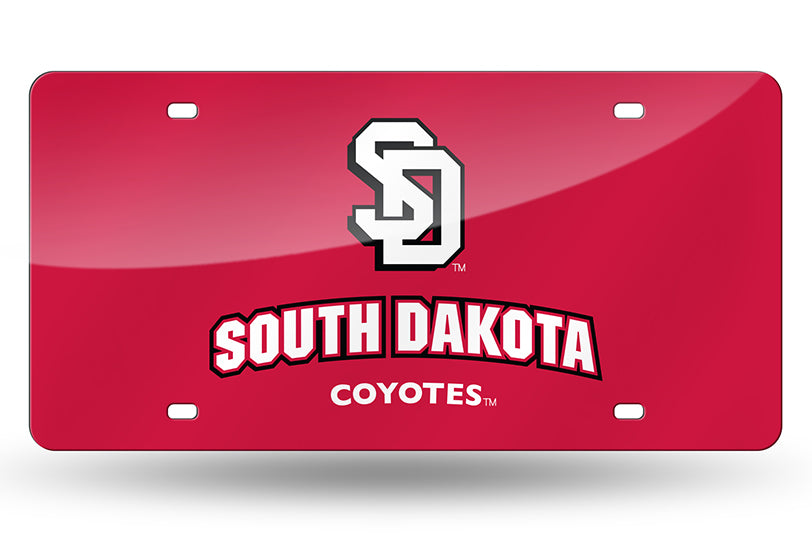 NCAA South Dakota Coyotes Laser License Plate Tag - Red