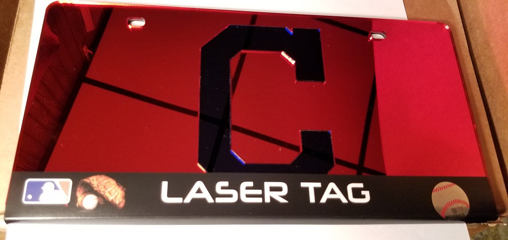 MLB Cleveland Indians Laser License Plate Tag - Red