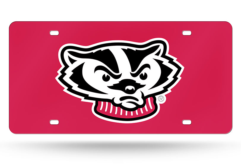 NCAA Wisconsin Badgers Laser License Plate Tag - Red