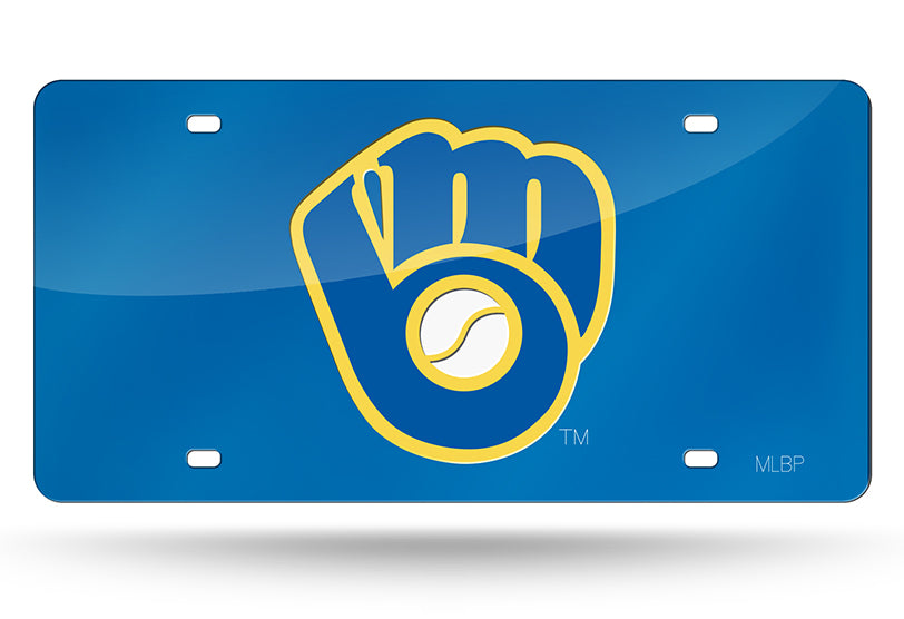MLB Milwaukee Brewers Laser License Plate Tag - Blue