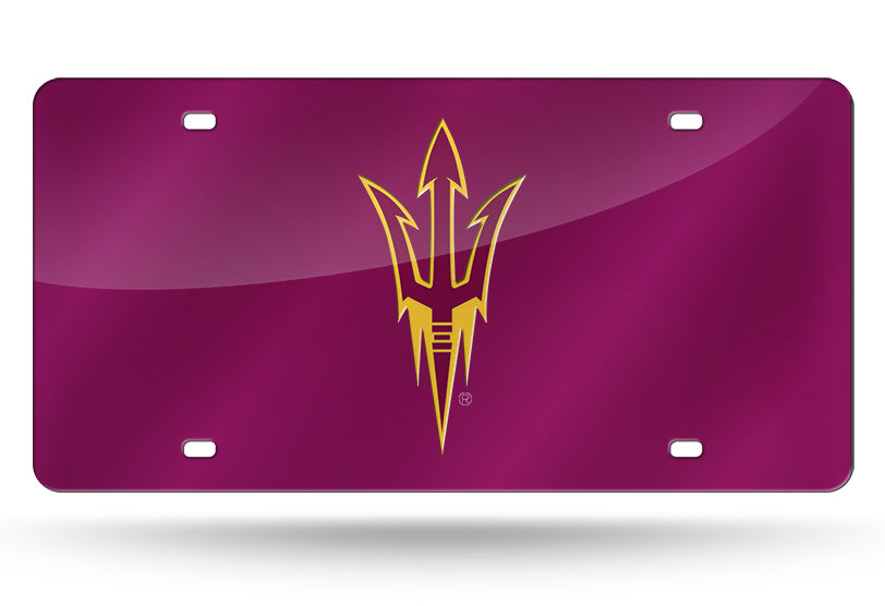 NCAA Arizona State Sun Devils Laser License Plate Tag - Dark Red