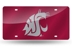 NCAA Washington State Cougars Laser License Plate Tag - Red
