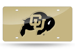 NCAA Colorado Buffaloes Laser License Plate Tag - Gold