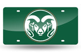 NCAA Colorado State Rams Laser License Plate Tag - Green