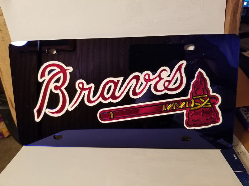 MLB Atlanta Braves Laser License Plate Tag - Navy