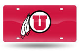 NCAA Utah Utes Laser License Plate Tag - Red