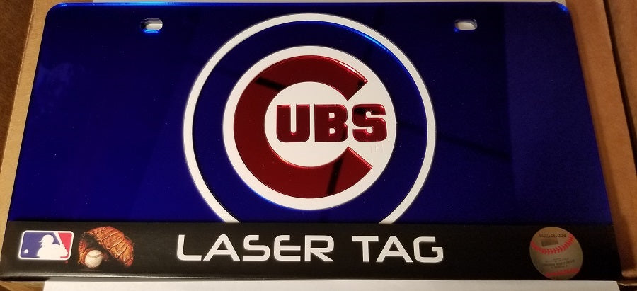 MLB Chicago Cubs Laser License Plate Tag - Blue