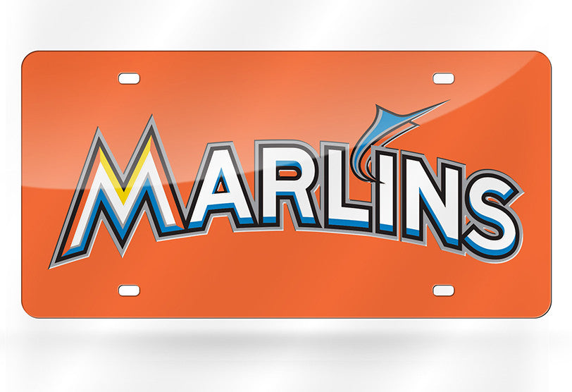 MLB Miami Marlins Laser License Plate Tag - Orange