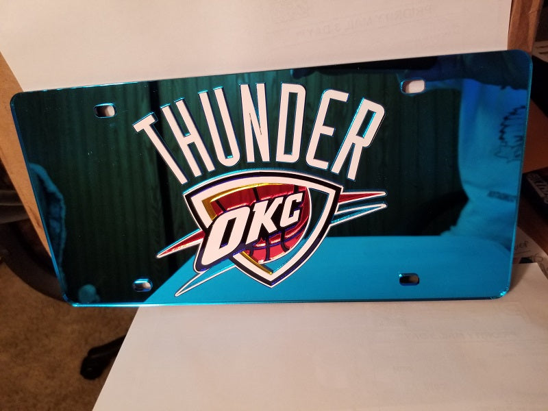 NBA Oklahoma City Thunder Laser License Plate Tag - Blue