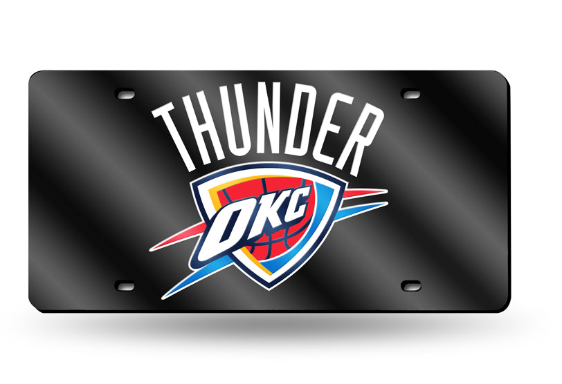 NBA Oklahoma City Thunder Laser License Plate Tag - Black