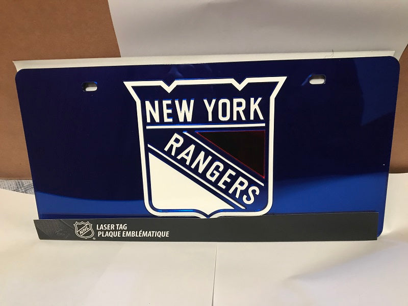 NHL New York Rangers Laser License Plate Tag - Blue