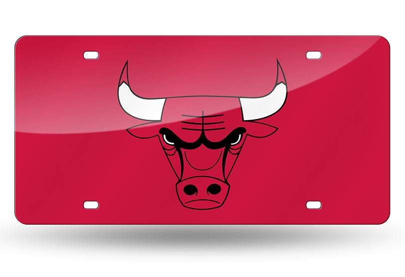 NBA Chicago Bulls Laser License Plate Tag - Red