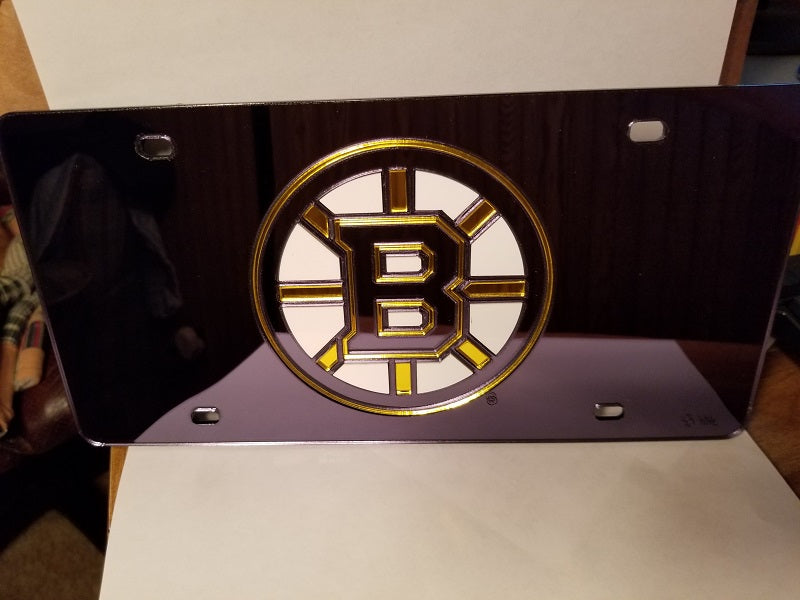 NHL Boston Bruins Laser License Plate Tag - Black