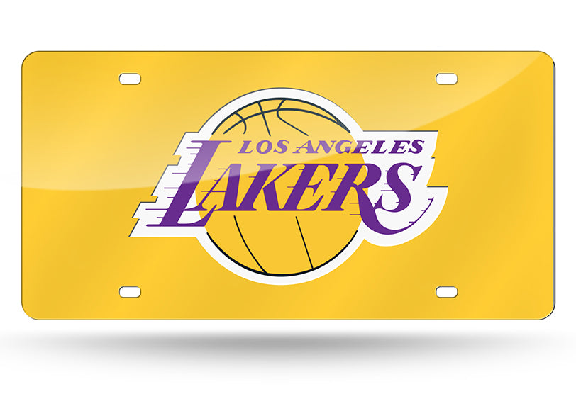 NBA Los Angeles Lakers Laser License Plate Tag - Yellow