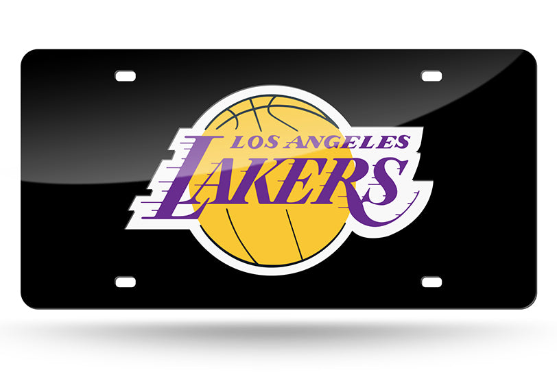 NBA Los Angeles Lakers Laser License Plate Tag - Black