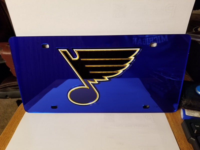 NHL St. Louis Blues Laser License Plate Tag - Blue