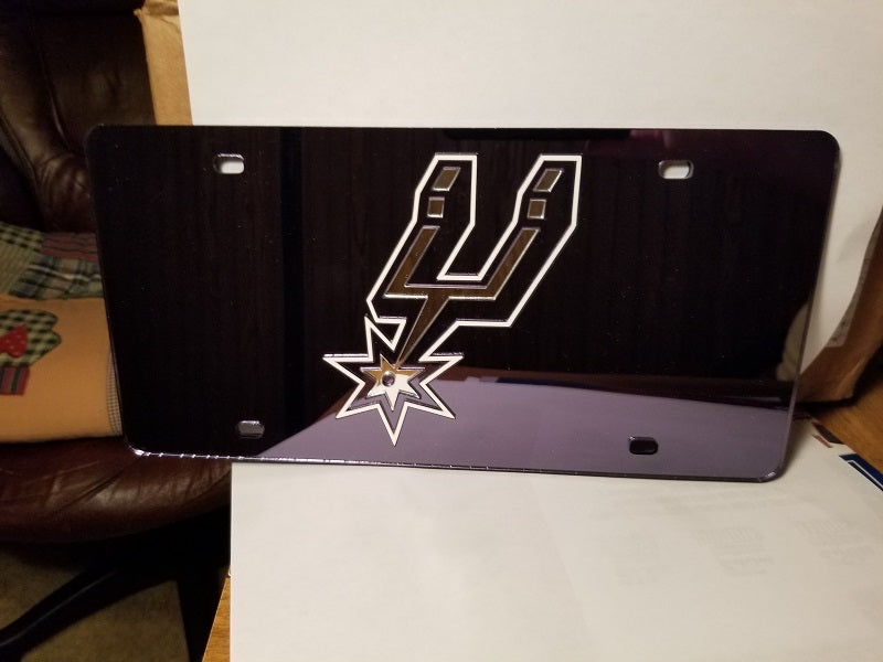 NBA San Antonio Spurs Laser License Plate Tag - Black