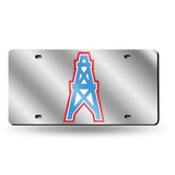NFL Tennessee Titans / Houston Oilers Retro Laser License Plate Tag - Silver
