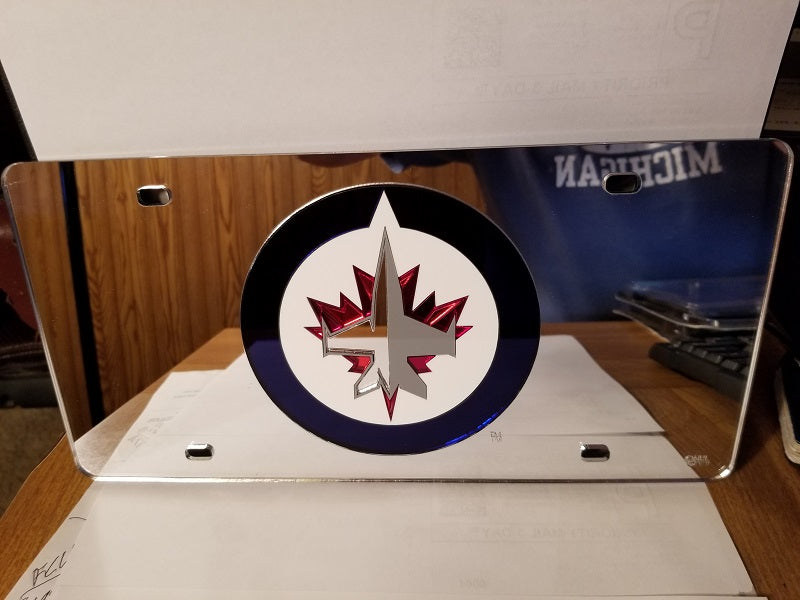 NHL Winnipeg Jets Laser License Plate Tag - Silver