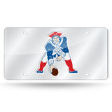 NFL New England Patriots Retro Laser License Plate Tag - Silver