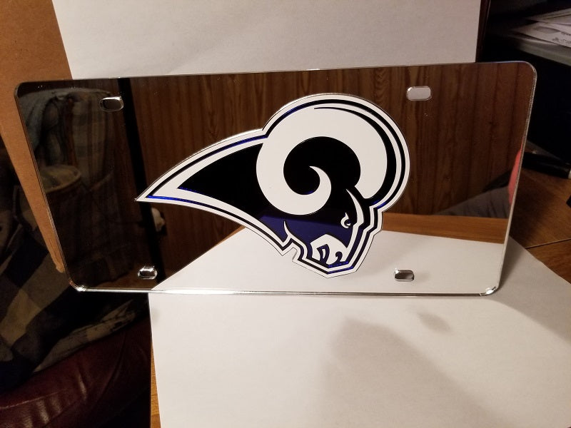 NFL Los Angeles Rams Laser License Plate Tag - Silver