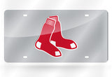 MLB Boston Red Sox Laser License Plate Tag - Silver - Hockey Cards Plus LLC