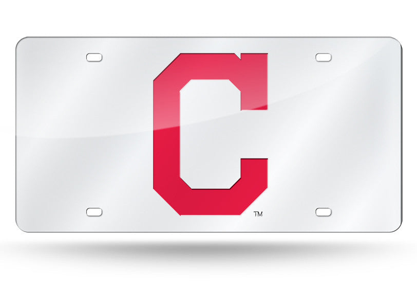 MLB Cleveland Indians Laser License Plate Tag - Silver - Hockey Cards Plus LLC