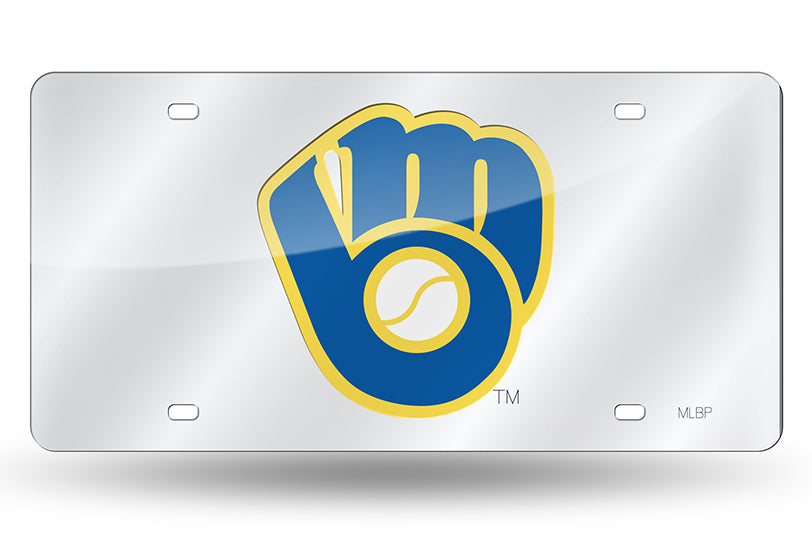 MLB Milwaukee Brewers Laser License Plate Tag - Silver