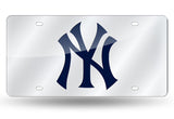 MLB New York Yankees Laser License Plate Tag - Silver - Hockey Cards Plus LLC