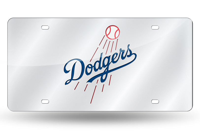 MLB Los Angeles Dodgers Laser License Plate Tag - Silver - Hockey Cards Plus LLC
